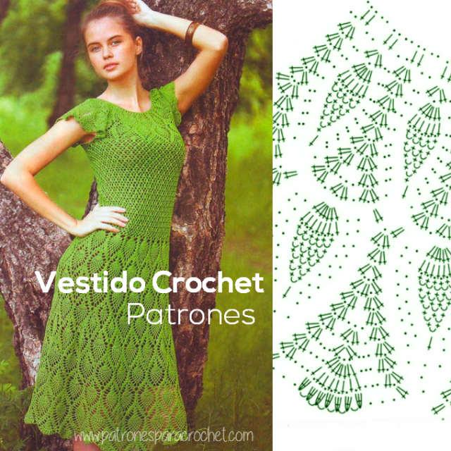 Vestido encantador en punto piñas / Patrones | Patrones para Crochet