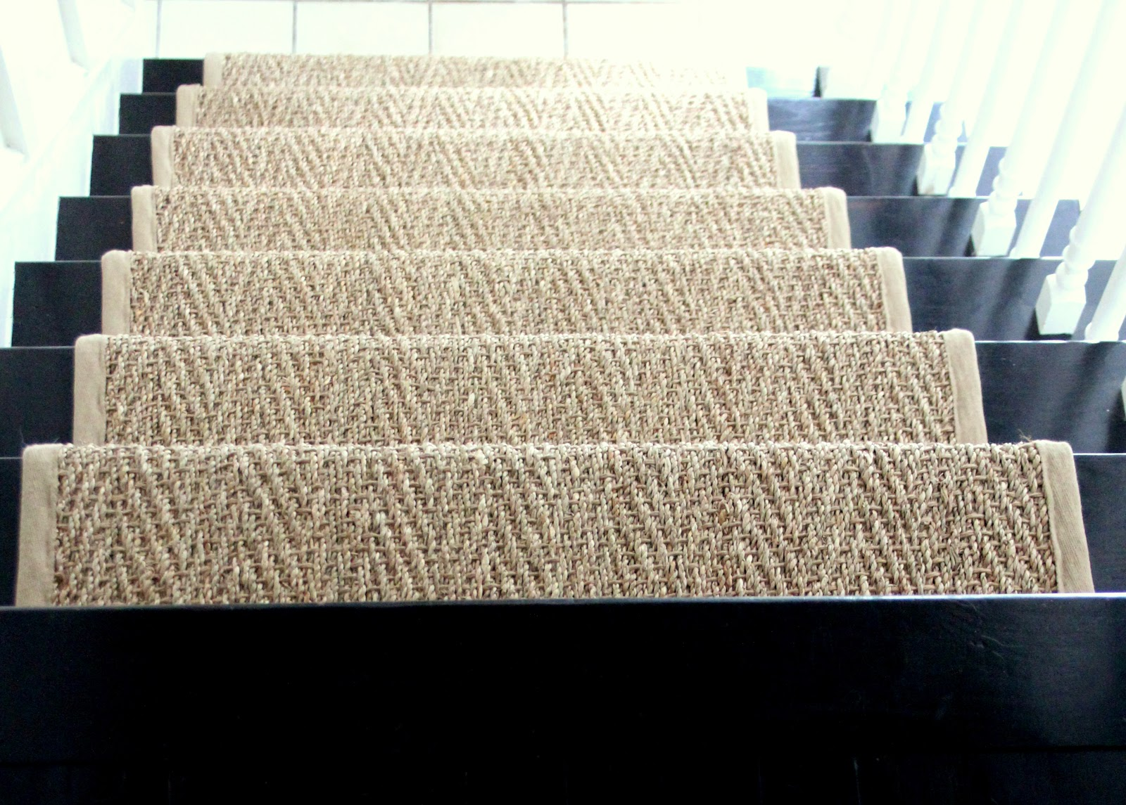 Shine your light how our natural fiber stair runner has for Woven carpet for stairs