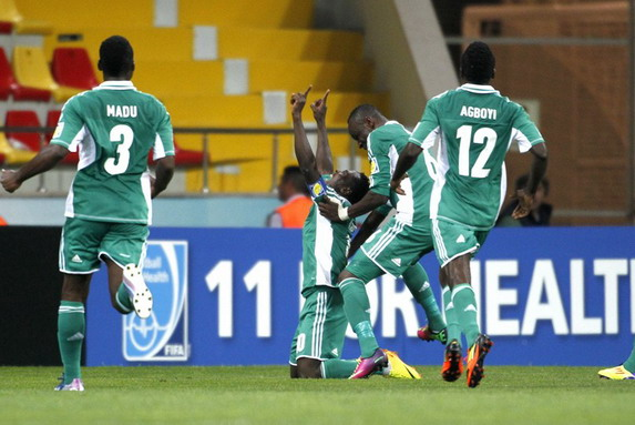 Nigeria U-20 player Abdul Ajagun celebrates after scoring a goal against Portugal U-20
