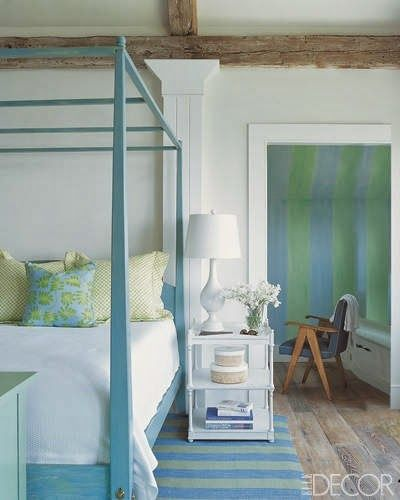 Aqua And Blue Stripes Beside The Bed