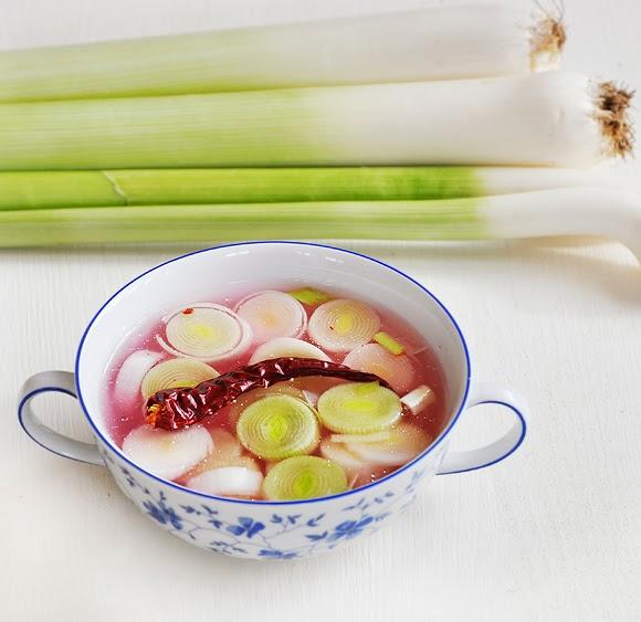 Cold Leek Soup with Sauerkraut Juice