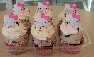 Hello Kitty cookie dough icecream cupcake dessert