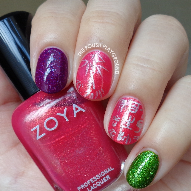 Asian Themed Stamping Skittle Nail Art