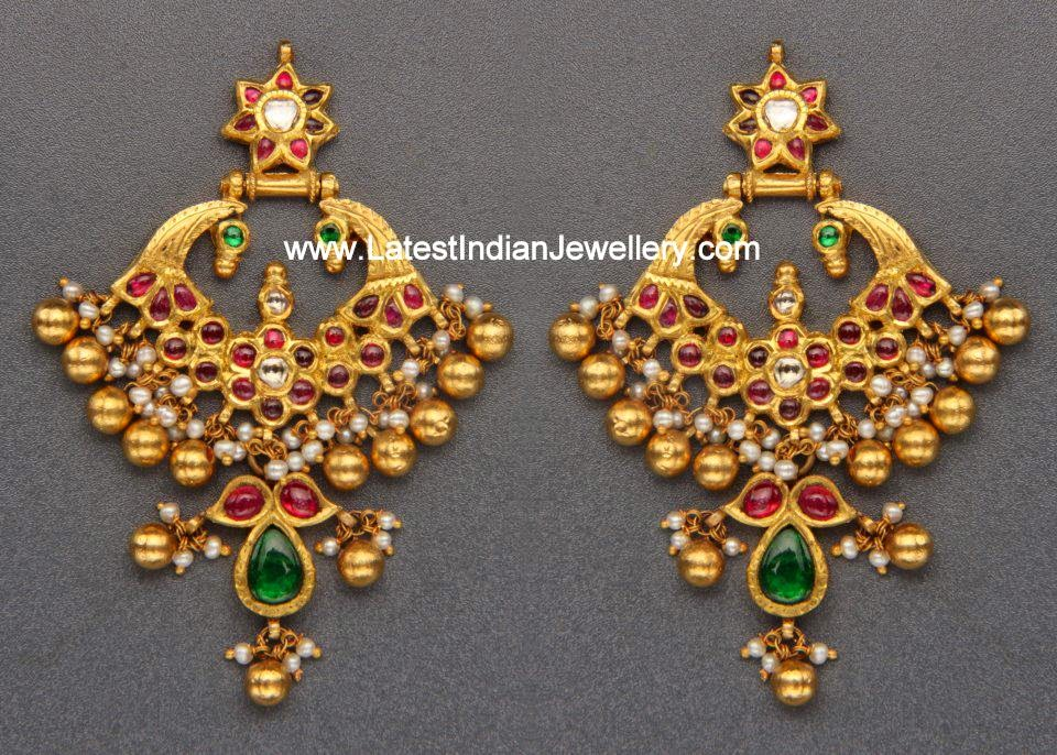 Antique Gold Chandbali Earrings