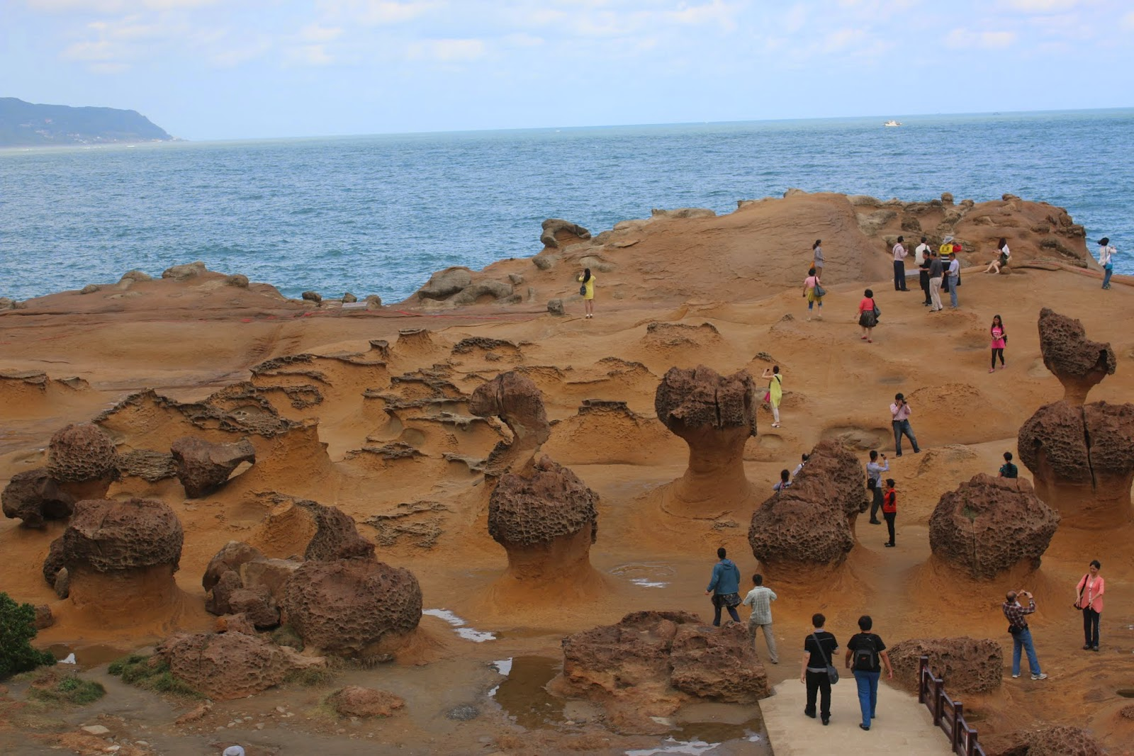 A closer view of the rocks evolution at Yehliu Geopark at Wanli of New Taipei City of Taiwan