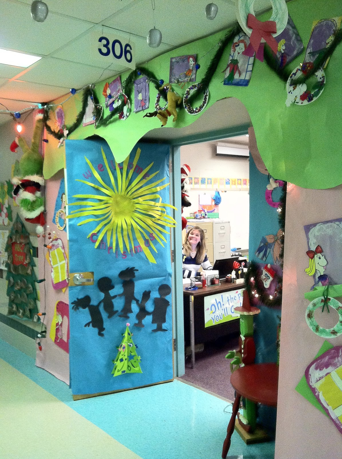 Mr first grade christmas door contest for 12 days of christmas decoration theme