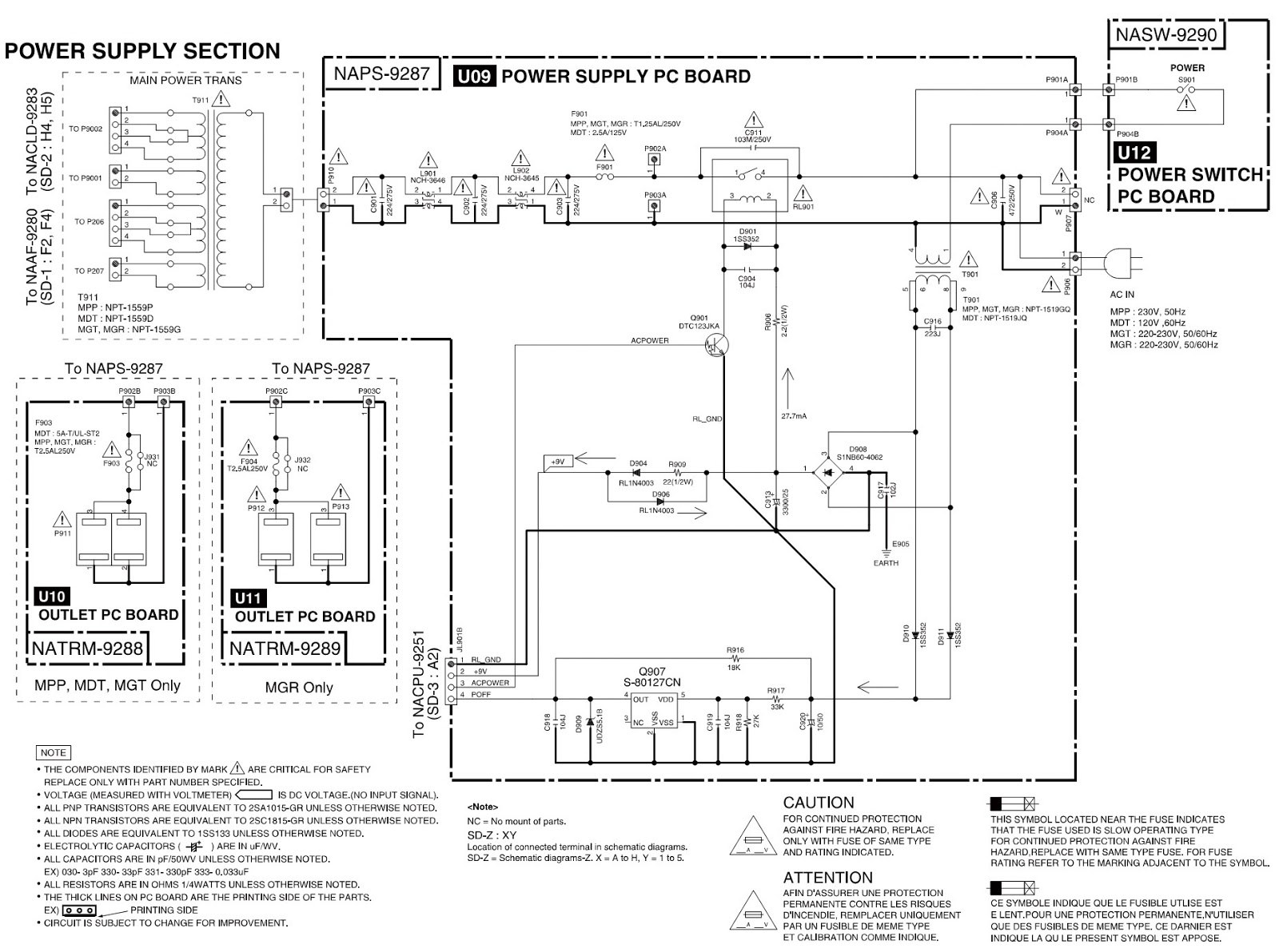 Onkyo A9355 Integrated Amplifier  U2013 Circuit Diagram