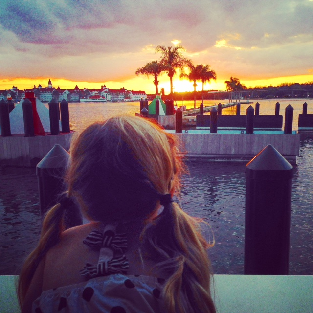 Little girl on the ferry at Disney