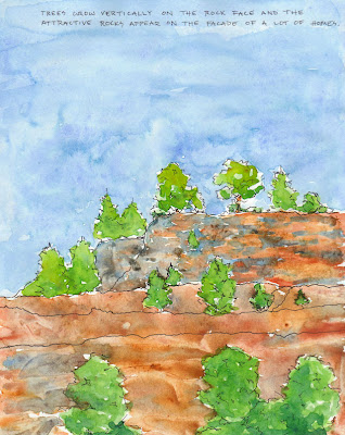 trees clinging to rock face ink and watercolor travel journal drawing