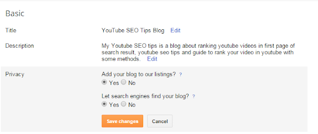 How to do On Page SEO For Blogger Blog - Basic Settings.