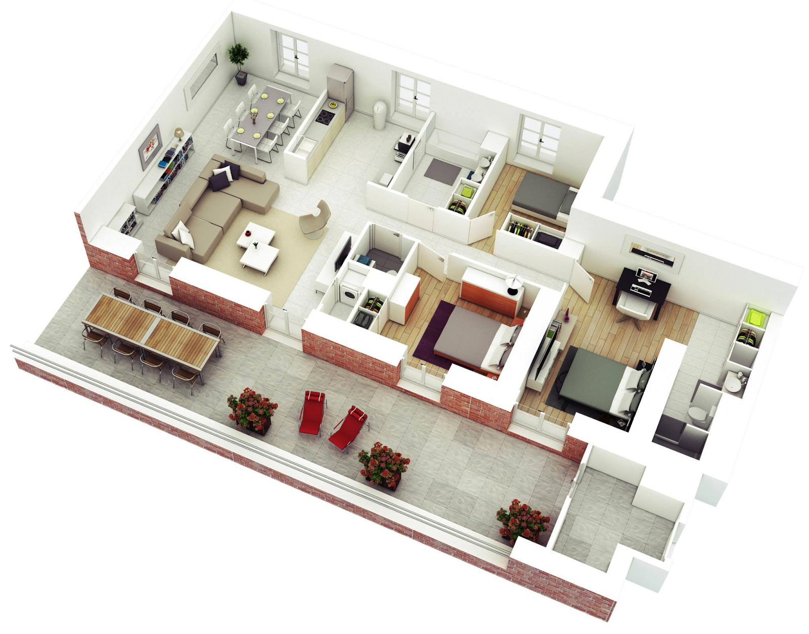 Free 3 bedrooms house design and lay out for 3 bedroom design ideas
