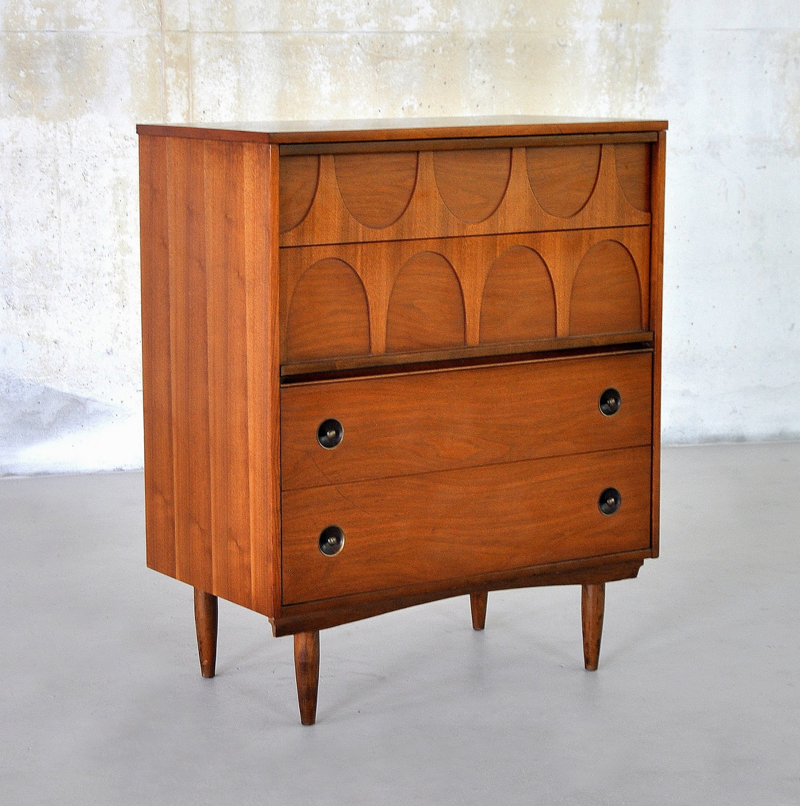 Mid Century Modern Walnut Highboy Or Gentleman's Chest Of Drawers