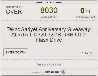 TeknoGadyet Anniversary Giveaway: ADATA UD320 32GB USB OTG Flash Drive Winner
