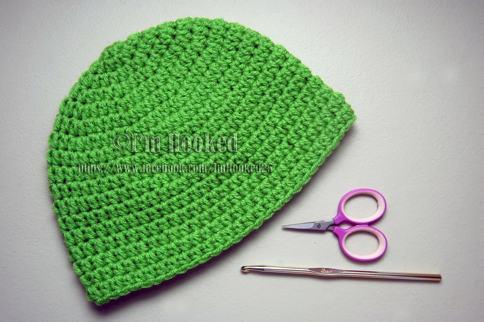 Crochet Basic Beanie Hat Pattern : Crochet Treasures: Basic Beanie (Half Double Crochet)