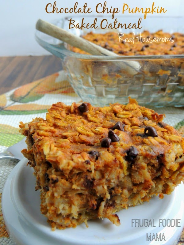 Chocolate Chip Pumpkin Baked Oatmeal via thefrugalfoodiemama.com for Real Housemoms