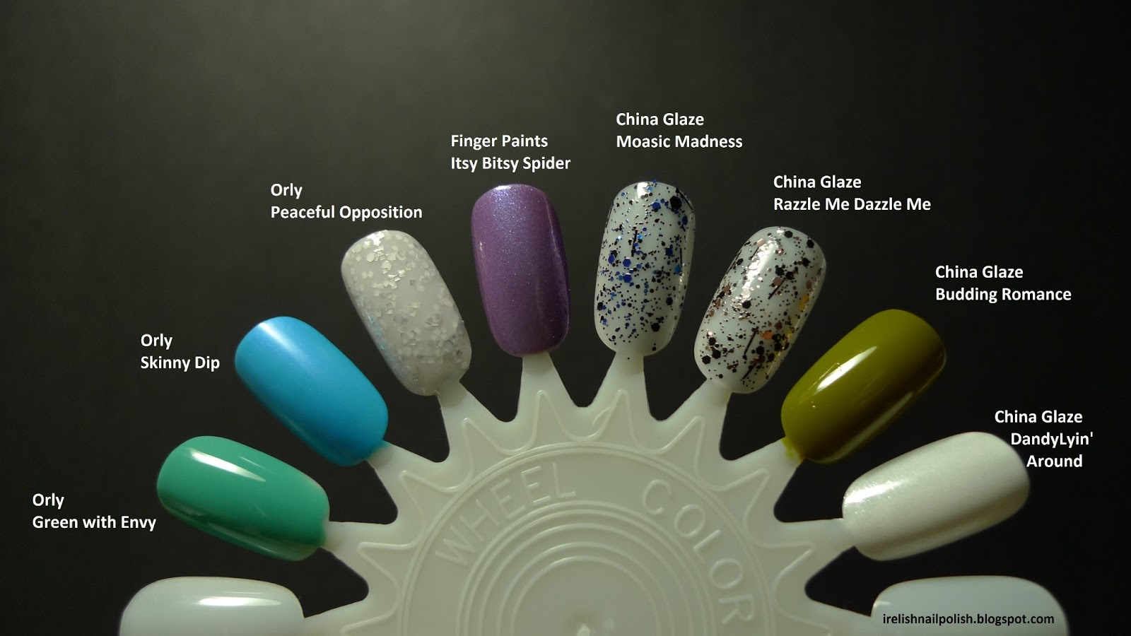 I relish nail polish orly green with envy and haul swatches below are swatches on a nail wheel as they are with no top coat geenschuldenfo Image collections