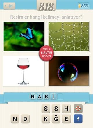 Resimli+Kelime+bulmaca mavi kelebek örümcek ağı şampanya bardağı köpük balon cevabı