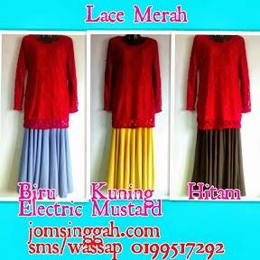 Baju lace Merah