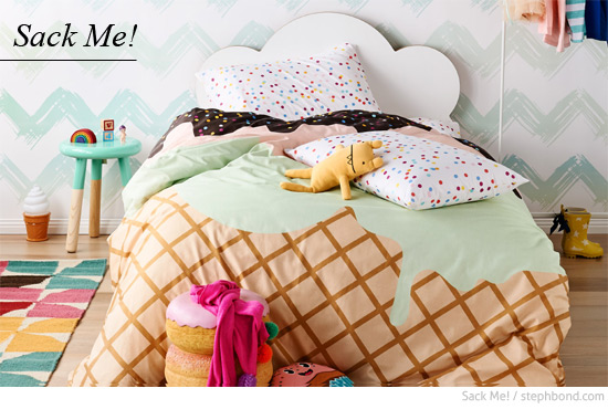 Inspirational  fun designs for kids this limited edition Sunday Sundae ice cream doona cover with sprinkles fitted sheet and pillow cases is the hit of the season