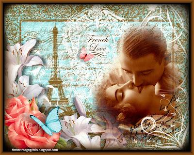 collage vintage con pareja, flores y París al fondo
