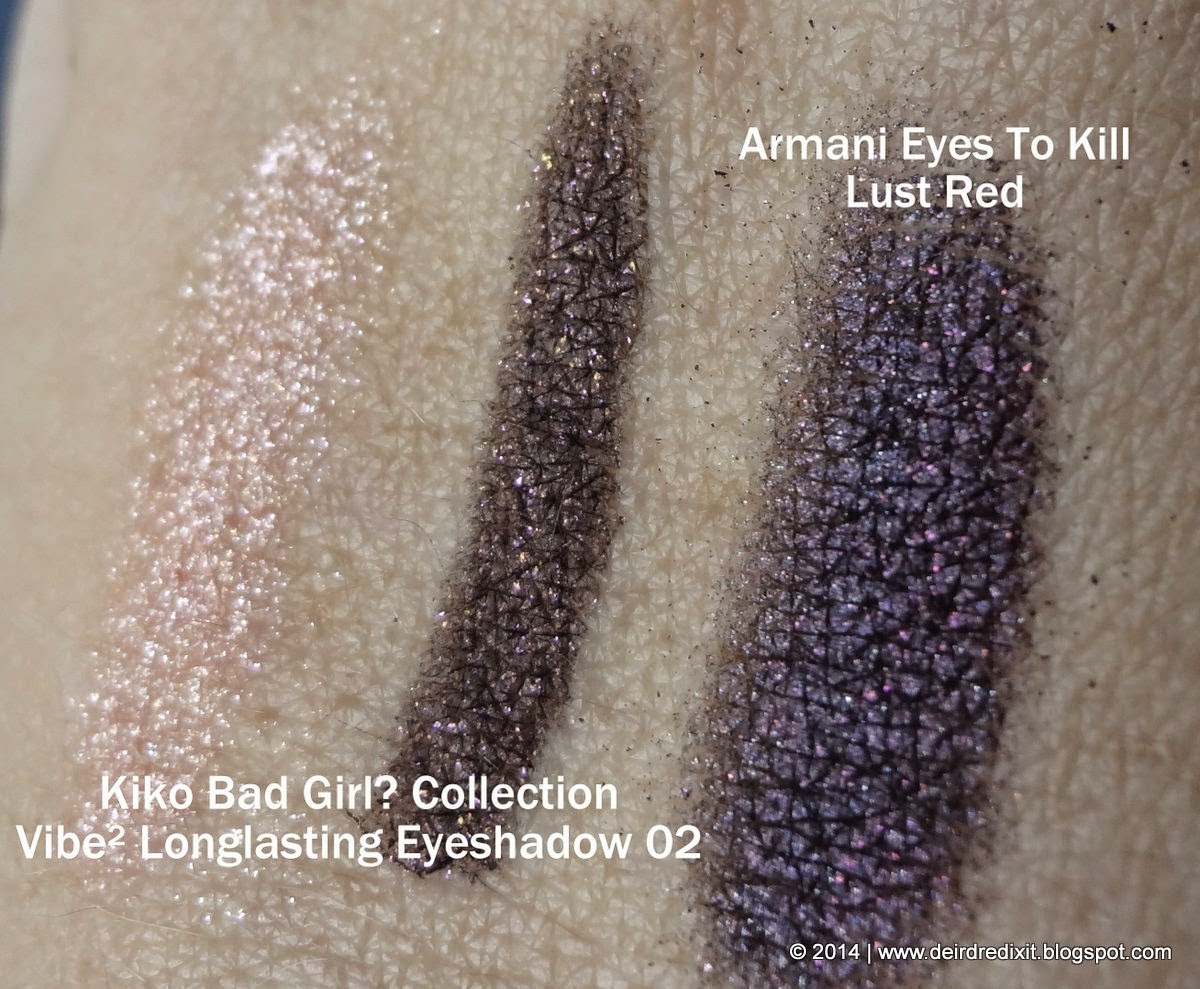 Confronto swatch tra Dupe Armani Eyes to Kill Lust Red e Kiko Vibe Longlasting Eyeshadow 02 Amethyst and Rose