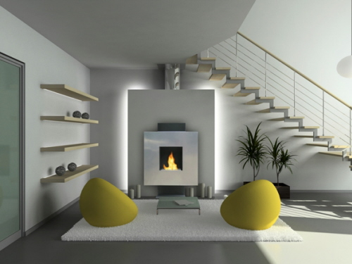 Modern Ventless Gas Fireplace 500 x 375