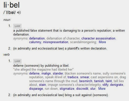 Whats the definations of lible, slander and obscene?