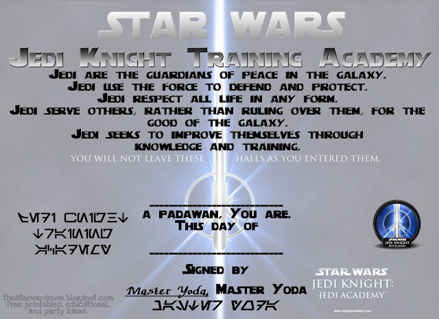 Star Wars Jedi Knight Training Academy Free Padawan Certificate Printable