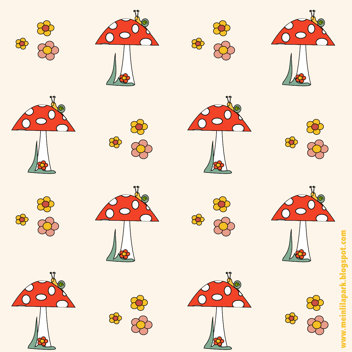 free digital mushroom scrapbooking paper in children art - Papers For Kids