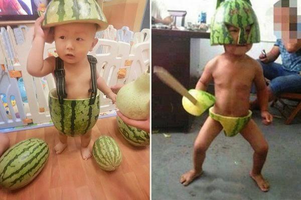 anak pakai celana dari buah semangka