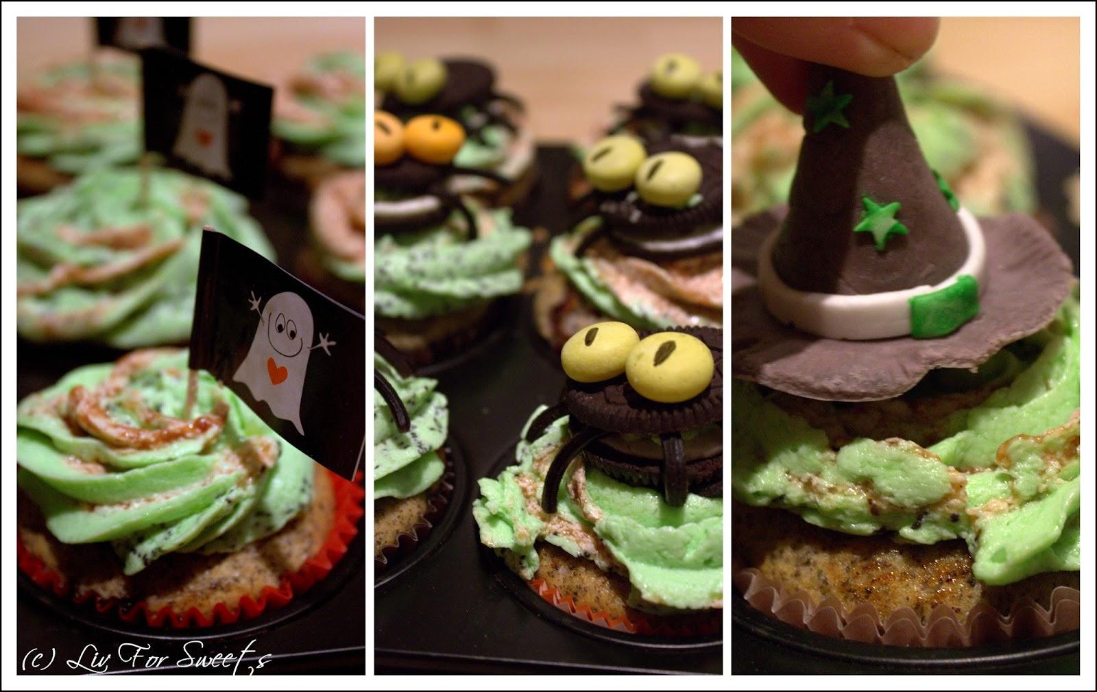 Mohn-Cupcakes mit einer Füllung aus Pflaumenmus mit einer Gespensterfahne, einer Spinne aus Keks und Lakritschlange und einem Hexenhut aus Fondant, Rezept, Thermomix, Halloween