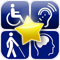 icon that has mobility, hearing, vison, and developmental disability signs and a star