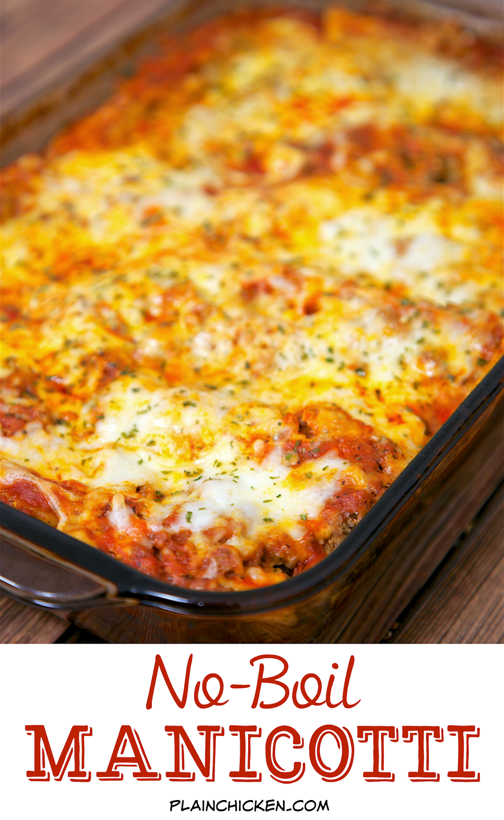 No-Boil Manicotti - cheese stuffed manicotti noodles baked in a quick meat sauce. No need to precook the pasta! It cooks with everything else! This is SO good and SOOO easy! Everyone gobbled it up! Serve with a salad and crusty garlic bread for an easy weeknight meal.
