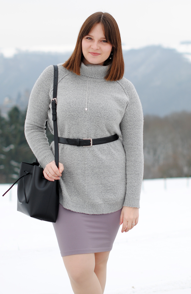 winter outfit turtleneck pencil skirt