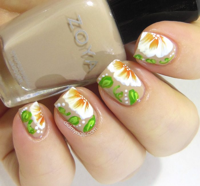 one-stroke flower nail art