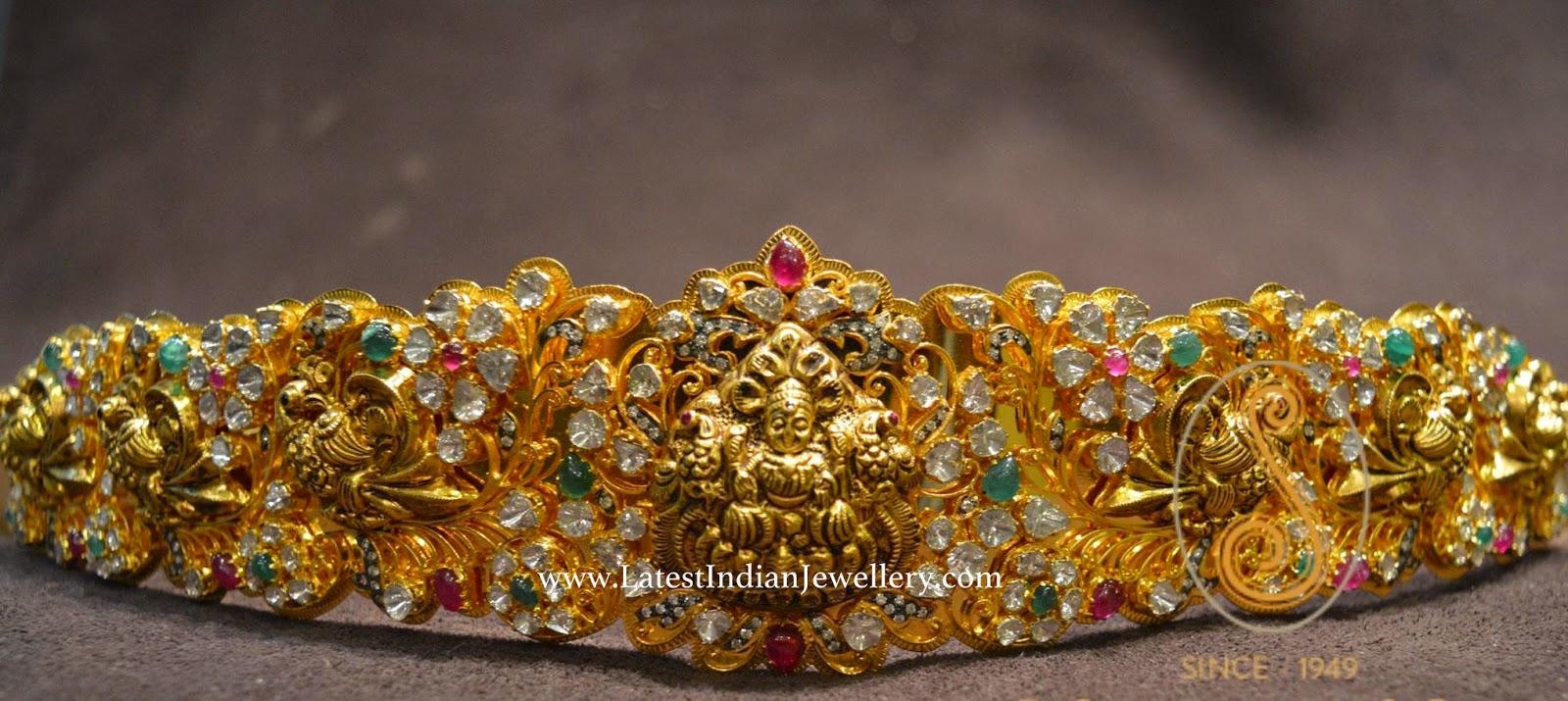 Pachi Work Lakshmi Gold Vaddanam Design