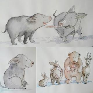 Angela Kommoß,  Bilderbuch, Kinderbuchillustrationen, Schweinchen, Ferkel