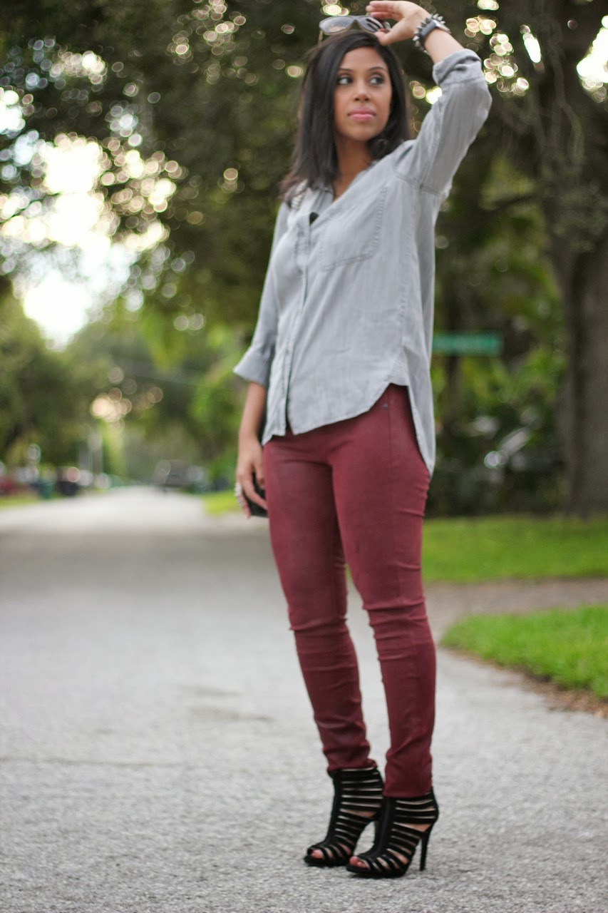 Rag & Bone Leather Pants in Burgundy with Bella Dahl top & Chanel Accessories