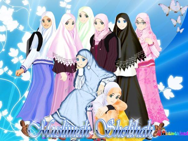 Gambar Kartun Cewek Muslimah Sholihah Berjilbab