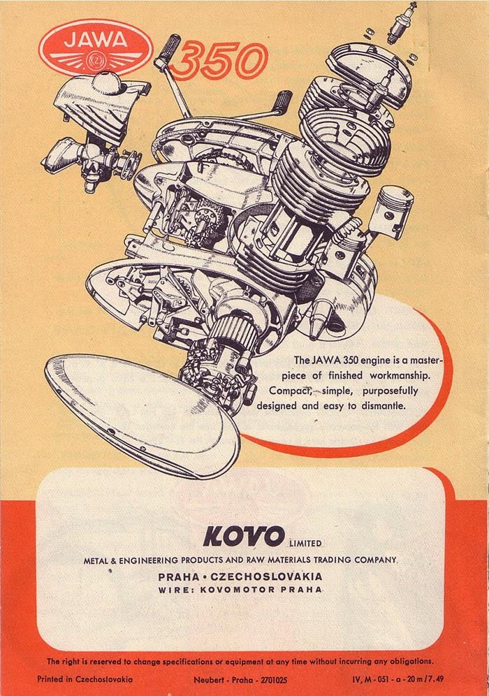 Reklama silnika Jawa 350
