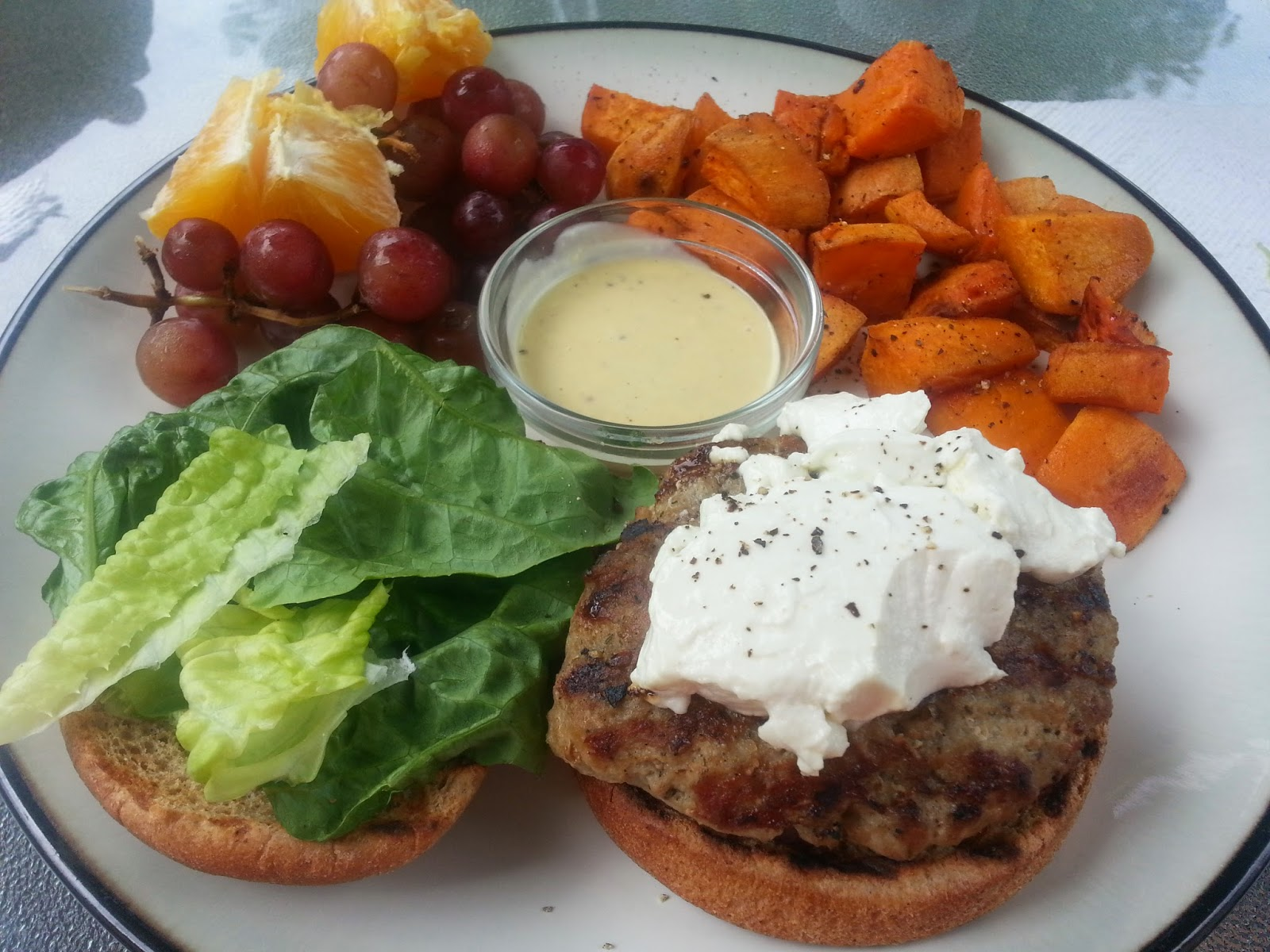 Grilled Turkey Burgers with Goat Cheese and Honey Mustard