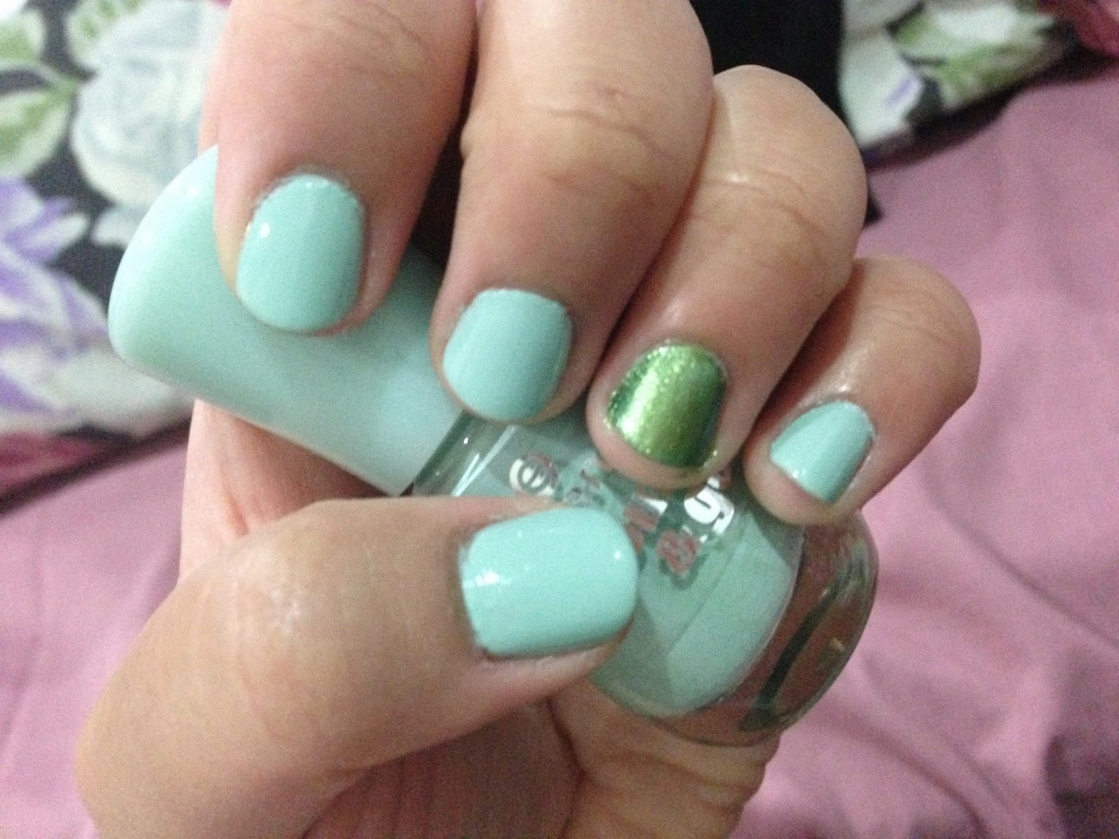 Essence Colour & Go Nail Polish In Shade 146 That's What I Mint! with accent nail colour, Maybelline's Color Show Nail Polish in the limited edition shade, 700 Avante Green.