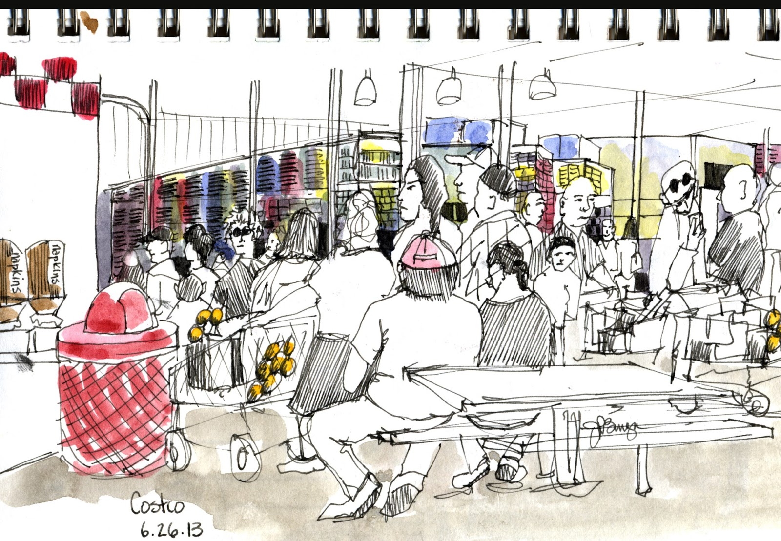 Urban Sketchers Tri Cities Washington Waiting In Line