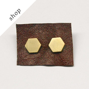 Brass Hexagon Earrings by rachellovesbob