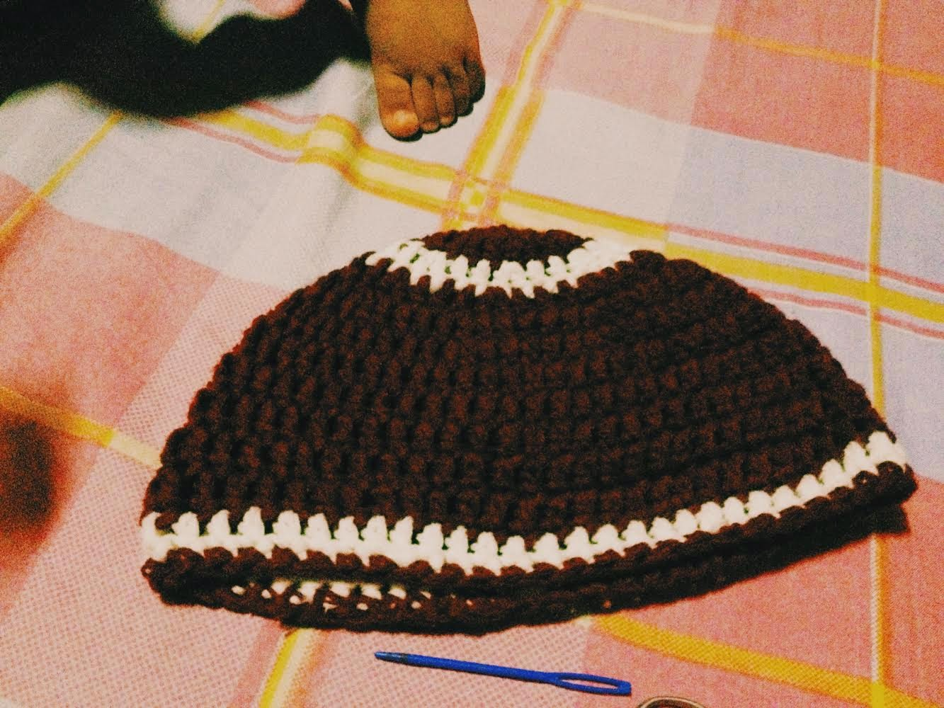 Crochet Football Beanie