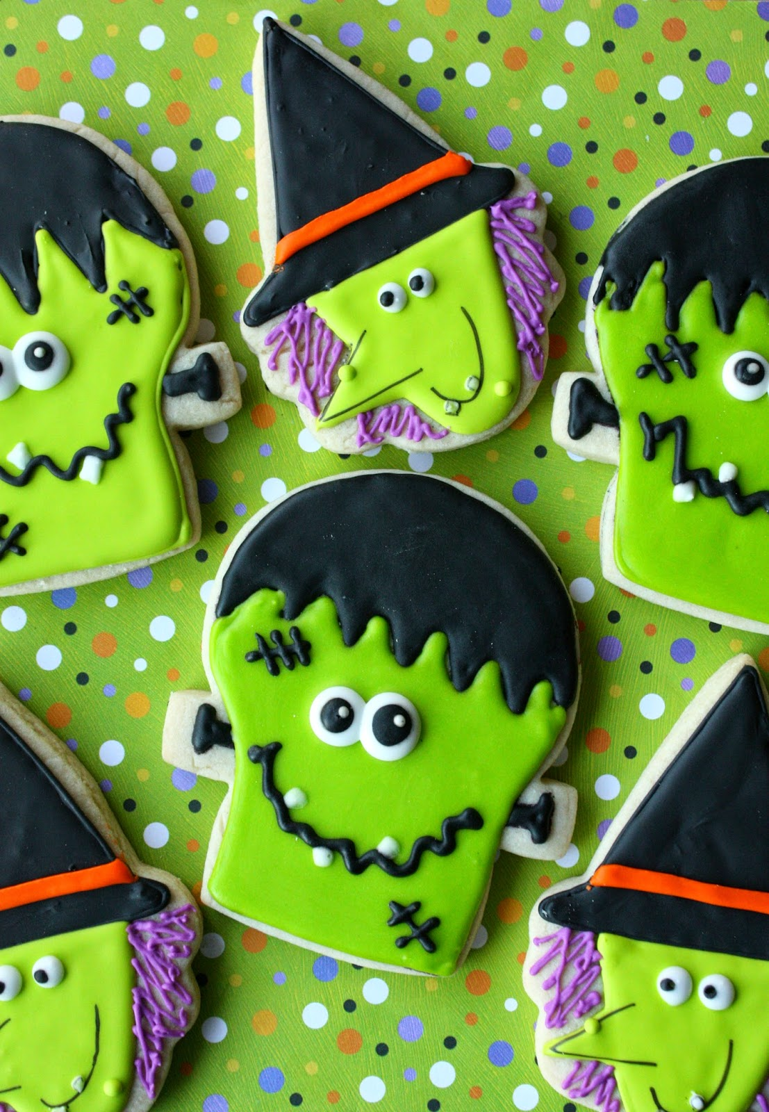 frankenstein and witch cookies