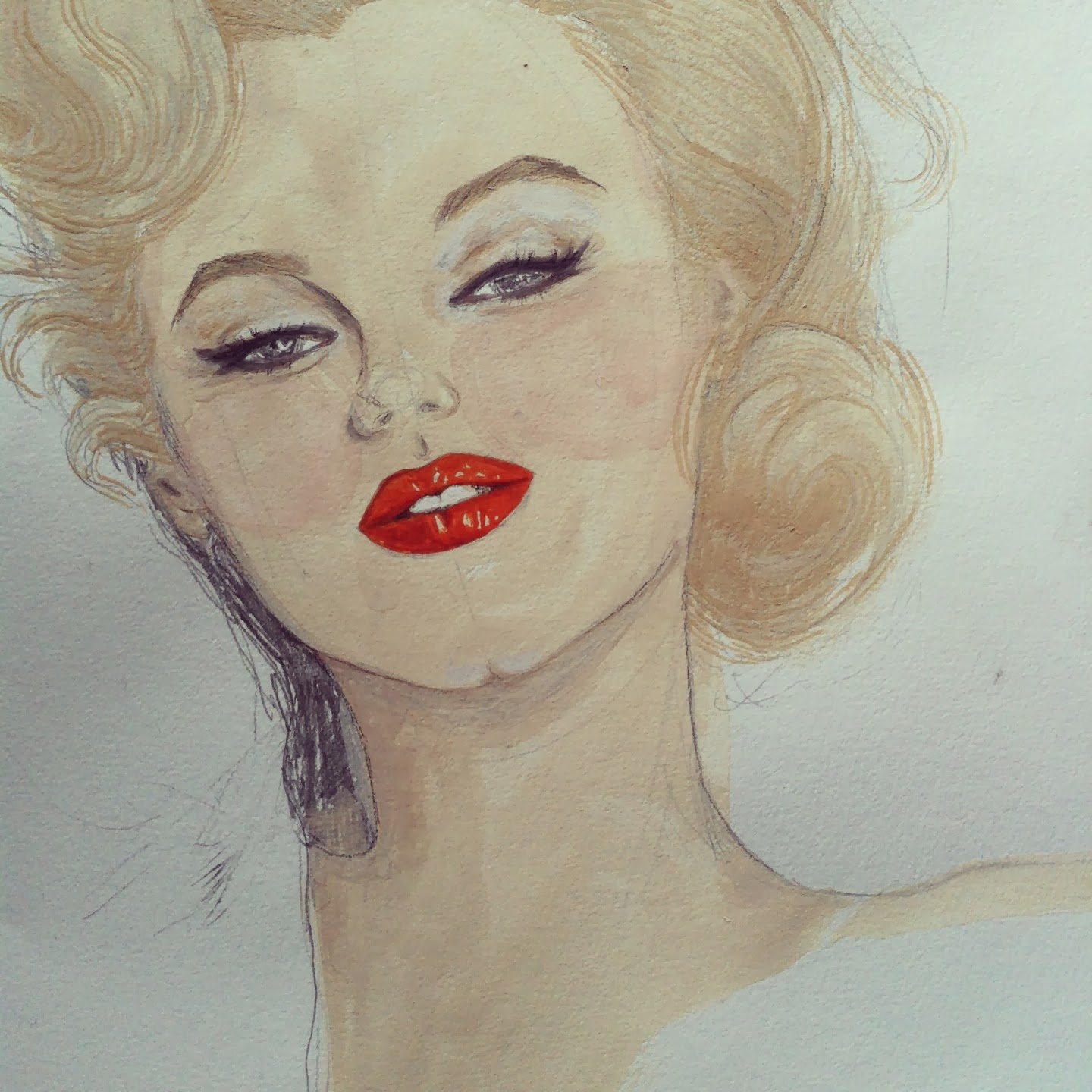 Kitty N. Wong / Marilyn Monroe gouache painting WIP