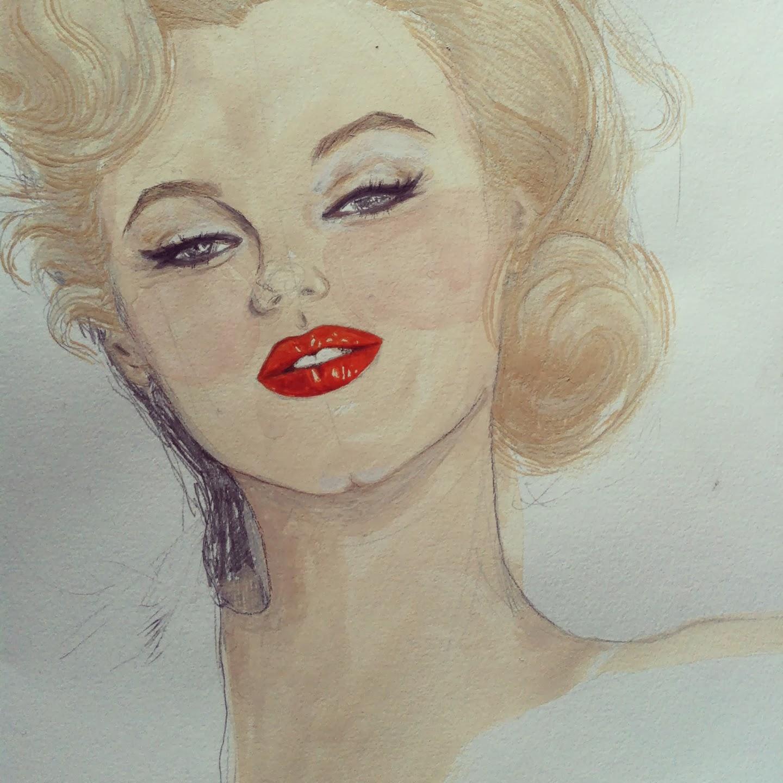 Kitty N. Wong / Marilyn Monroe gouache painting WIP