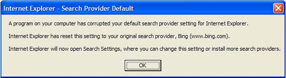 IE9: A program on your computer has corrupted your default ...
