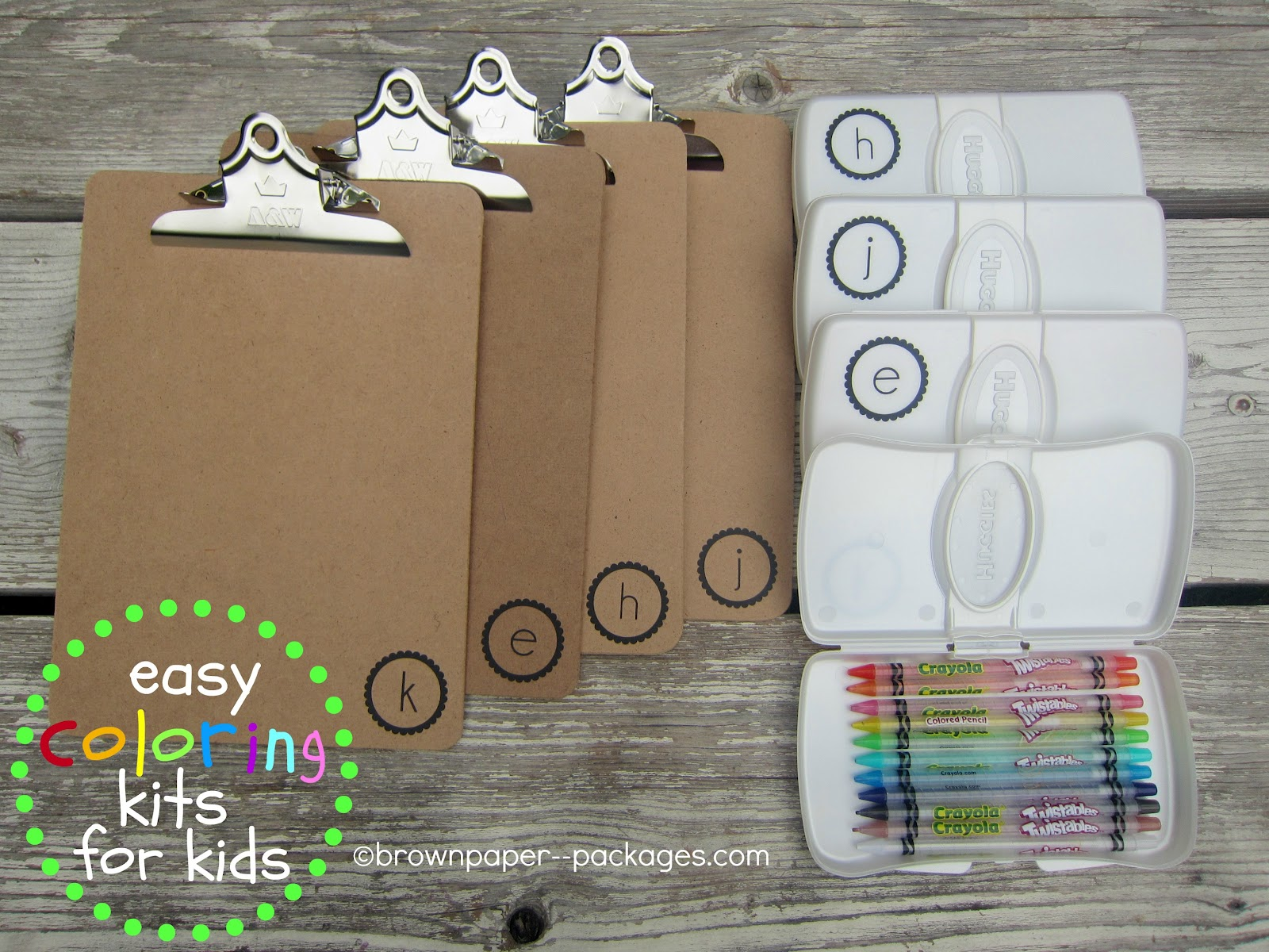 clipboards + wipes cases = easy coloring kits for kids} - Simply ...